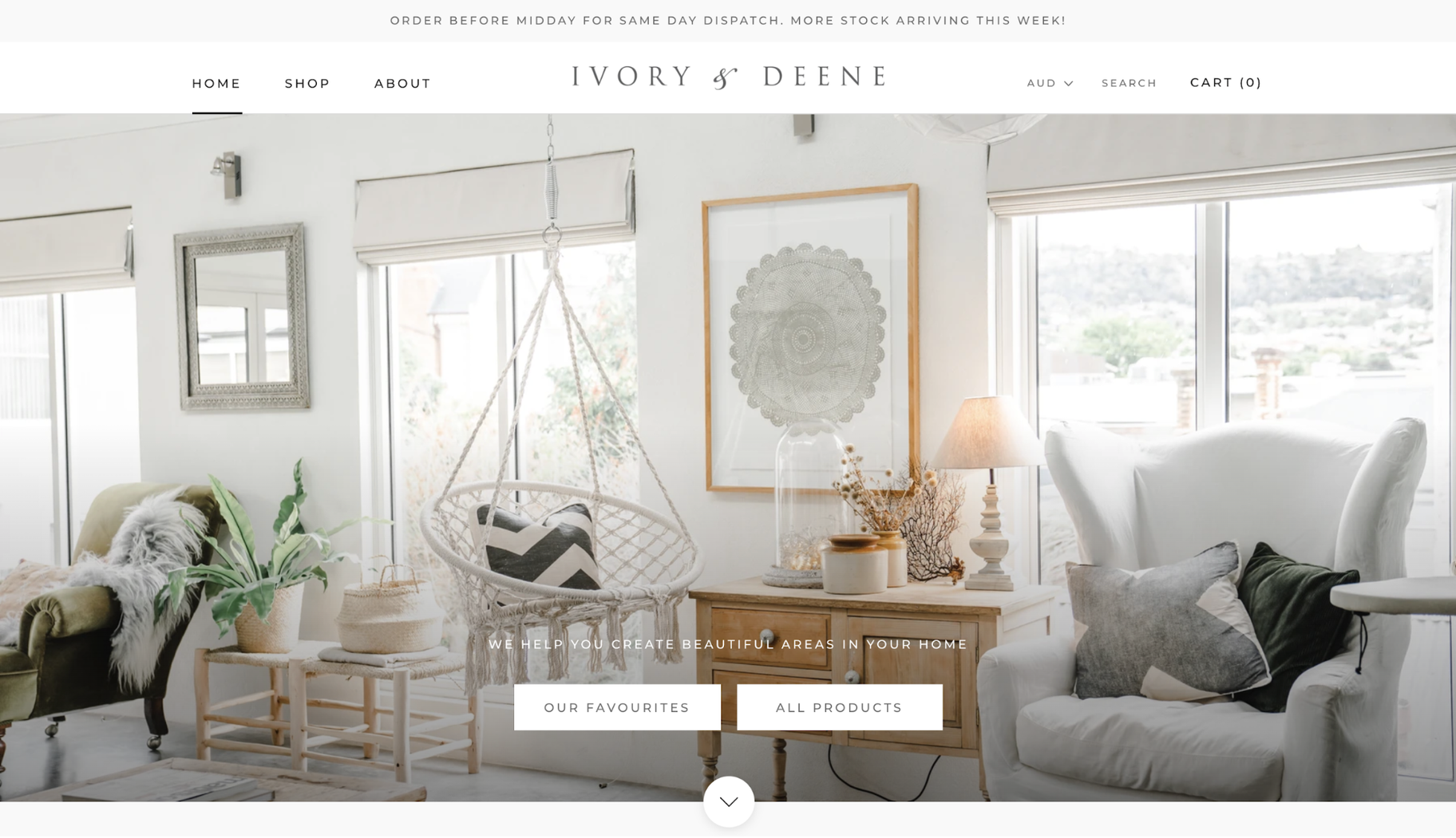 Small Business Website Example: Ivory & Deene
