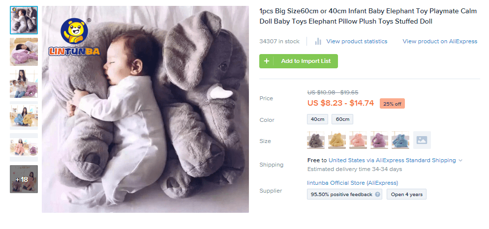 Plush Elephant Pillow for Babies
