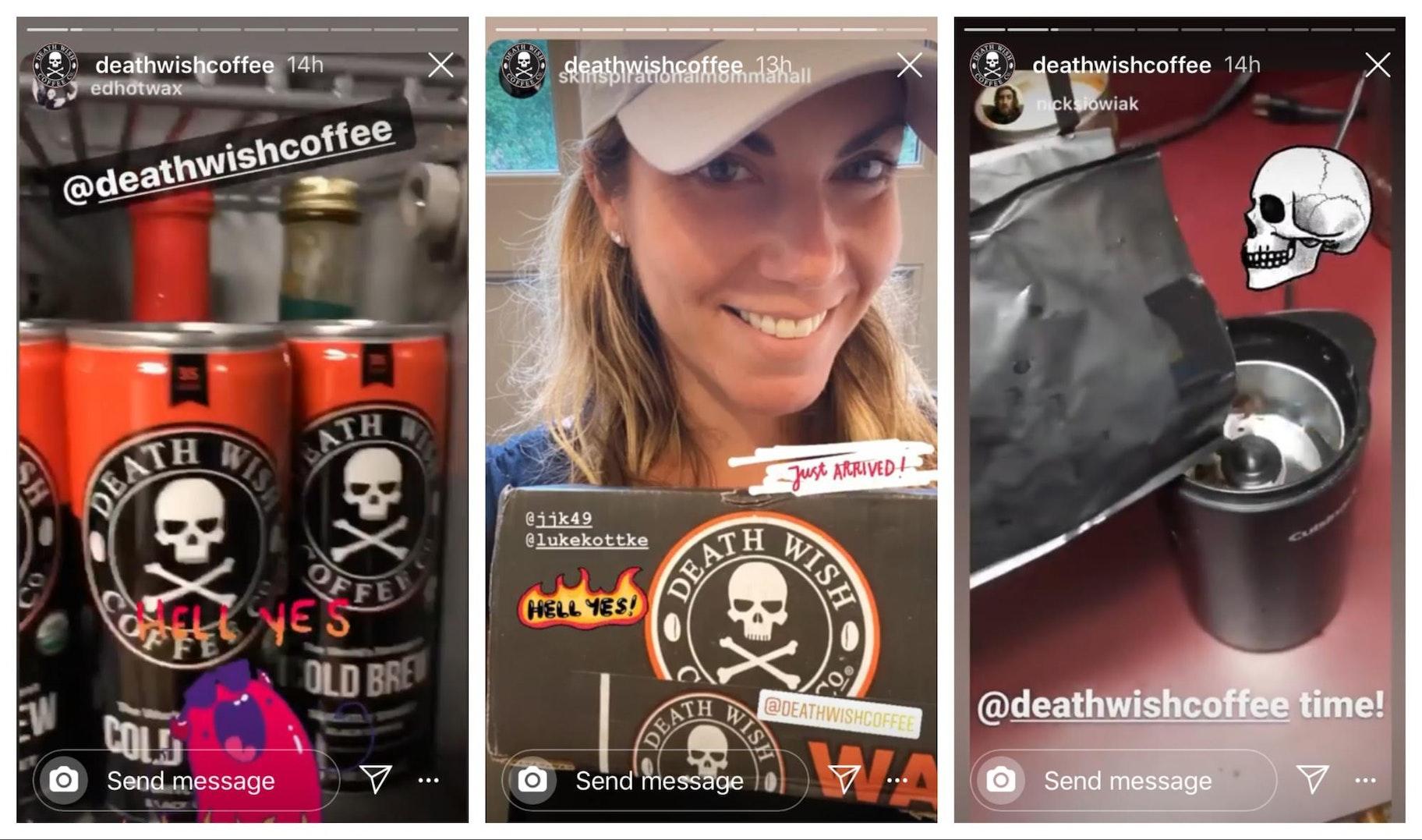 Death Wish Coffee Instagram Story Design Example