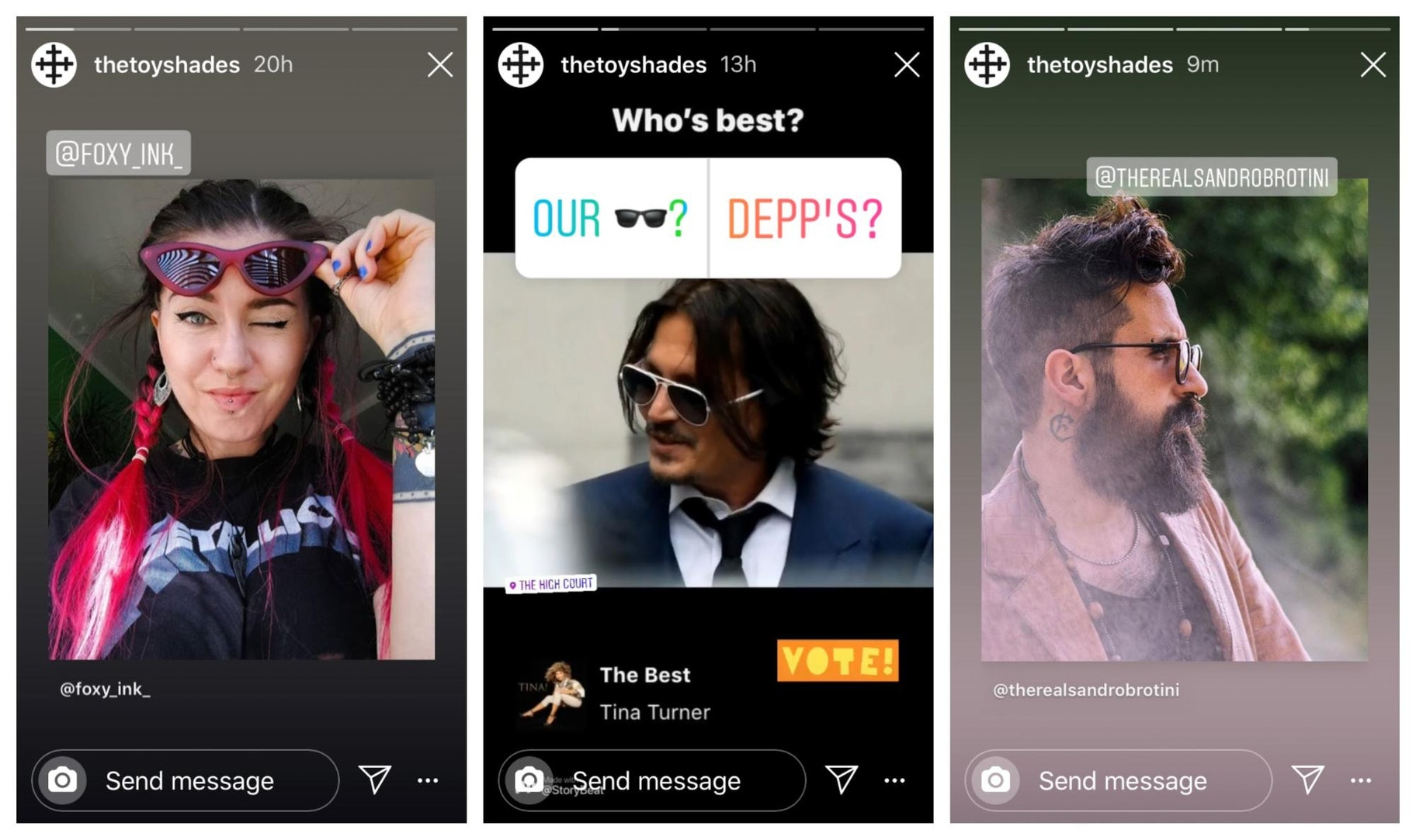 The Toy Shades Instagram Story Design Example
