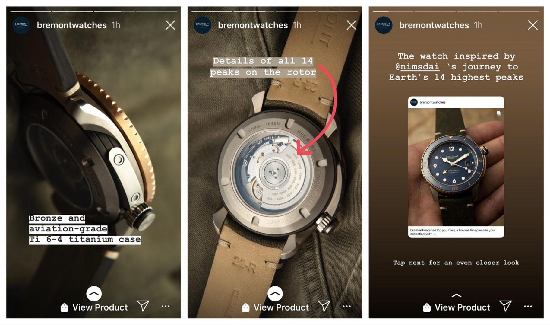 Bremont Instagram Story Design Example