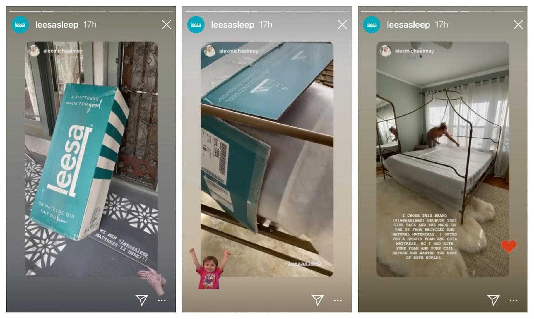 Leesa Sleep Instagram Story Design Example