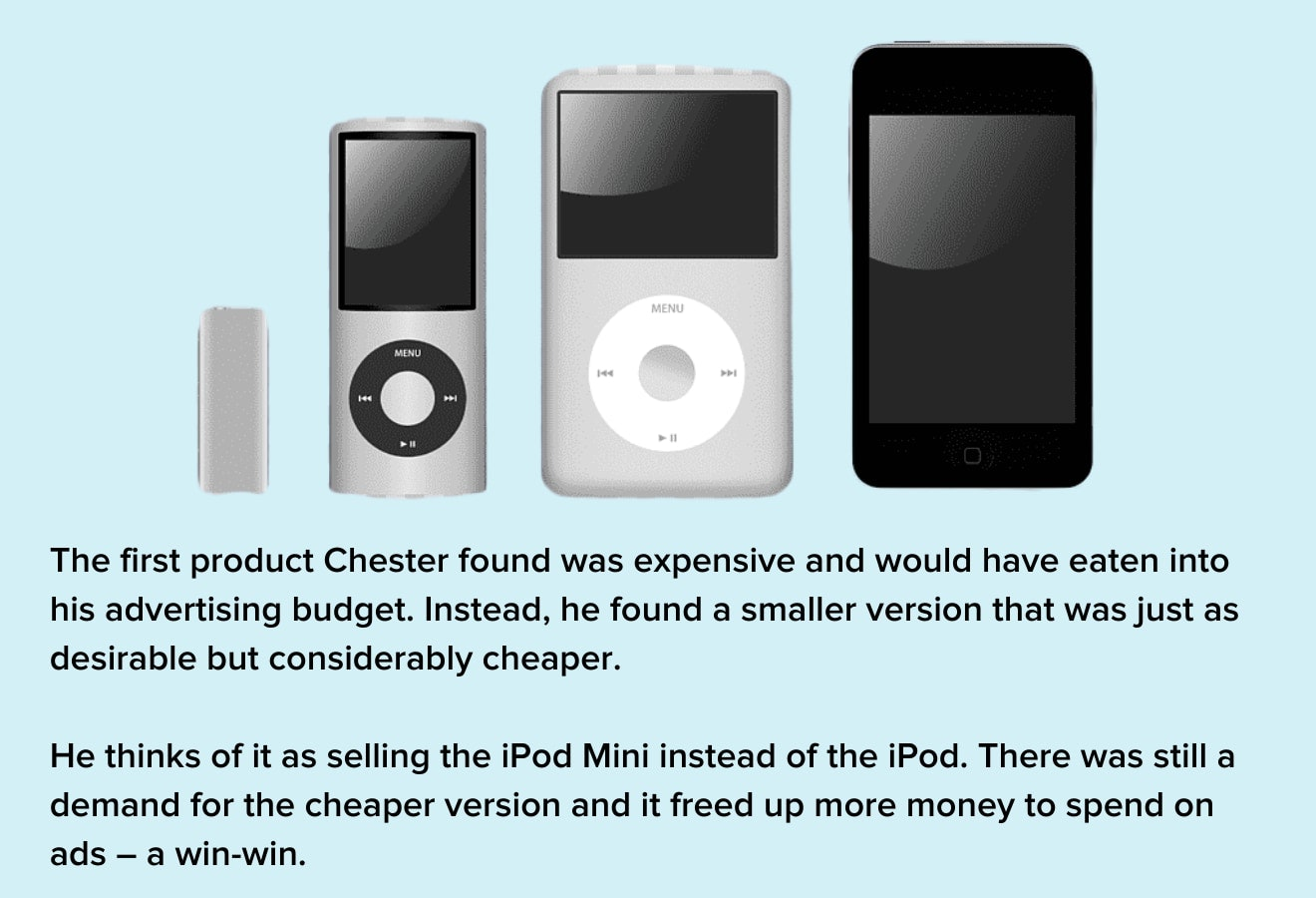 Chester explains his product as the 'iPod Mini' rather than the more premium 'iPod'