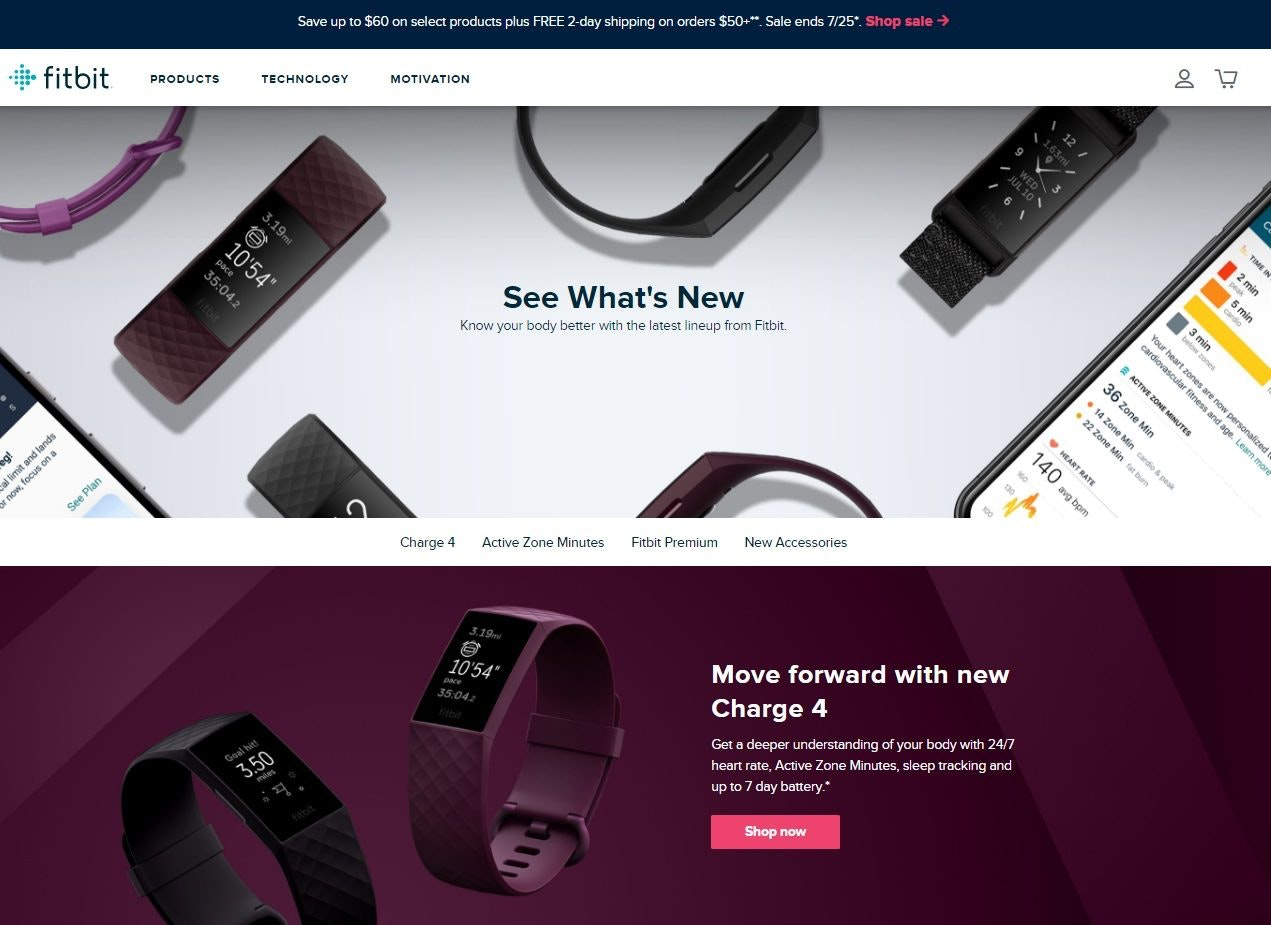 top landing pages fitbit