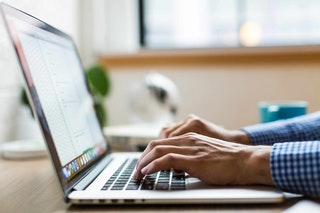 man using computer image
