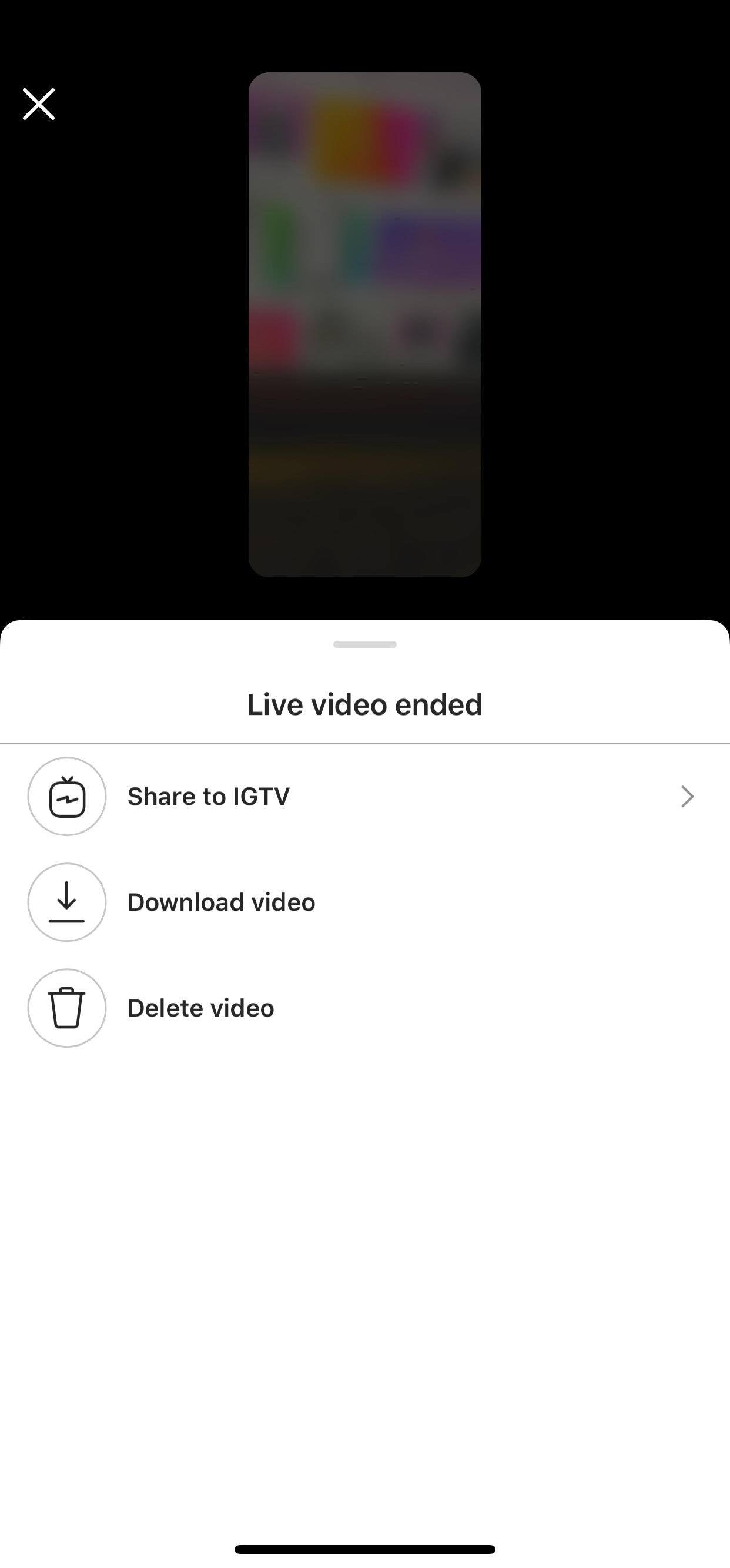 share Instagram live videos to IGTV
