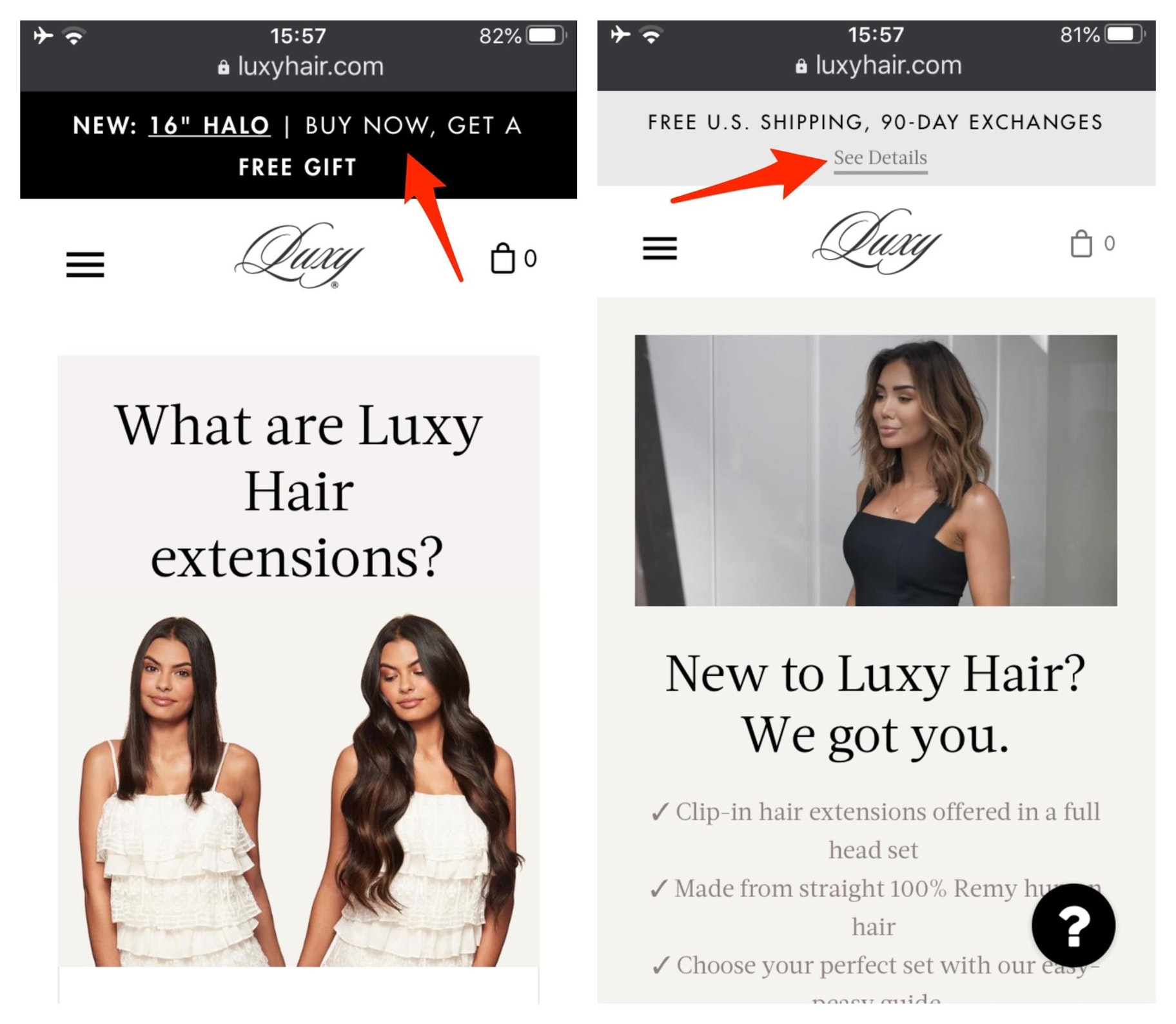 Luxy Hair Calls-to-Action