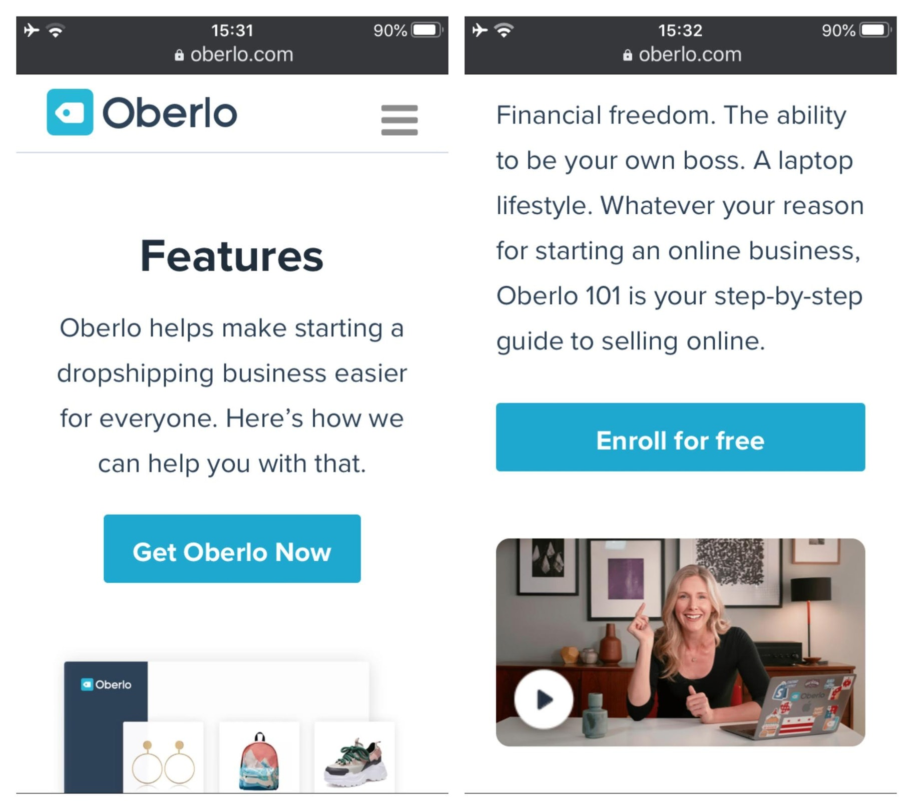 Oberlo Mobile Website Design