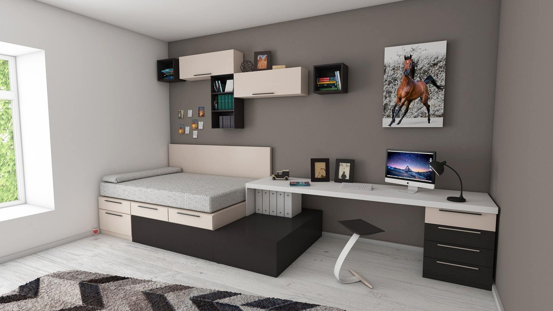 A workspace in a bedroom