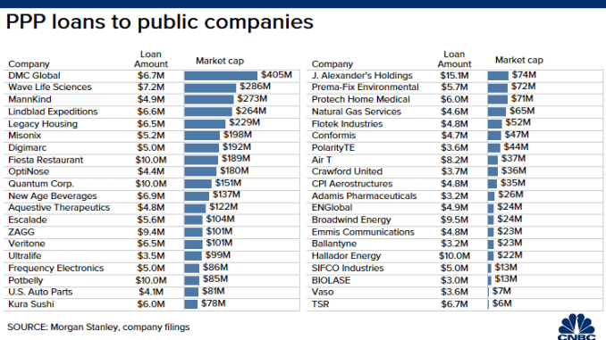 PPP Loans to Public Companies