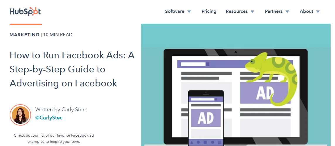 Screenshot of HubSpot's content on Facebook ads