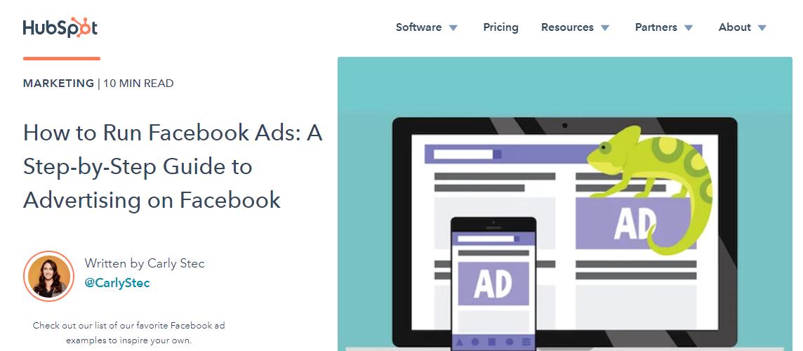 Screenshot of HubSpot's content on Facebook ads