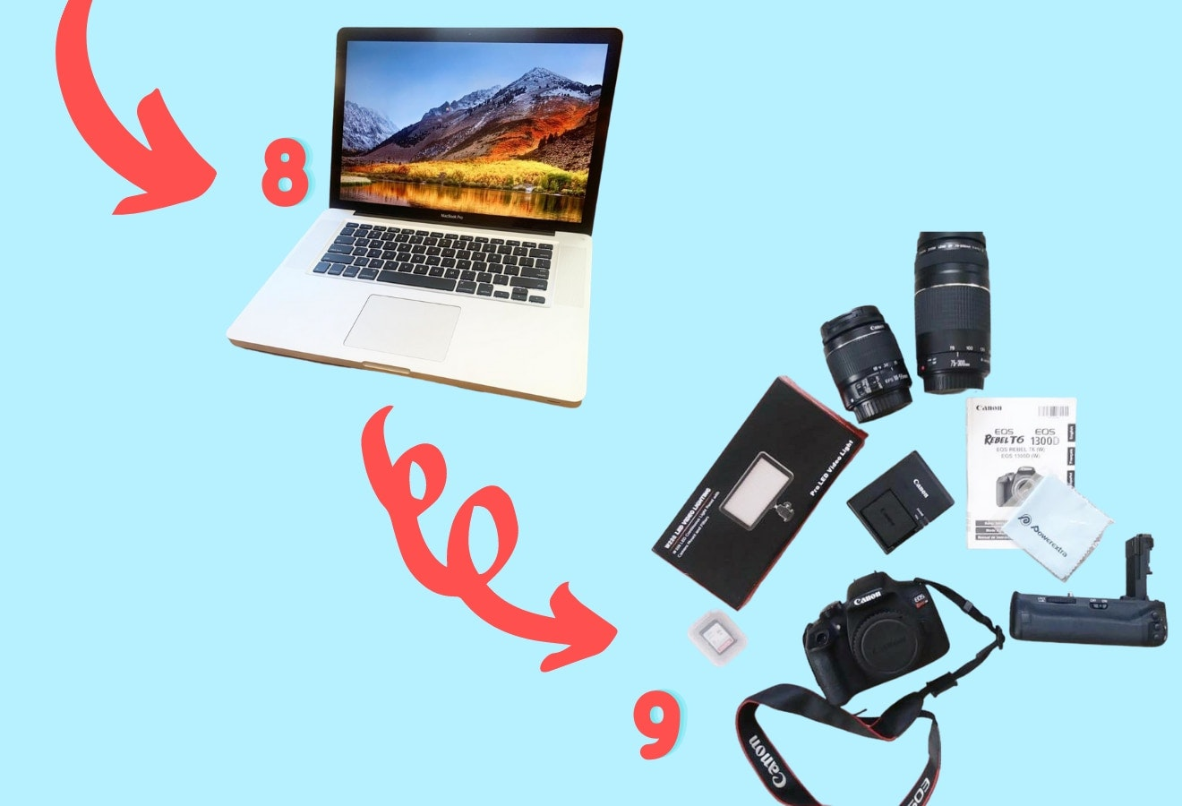 Trades 8 and 9 - a 2011 macbook and a canon camera set