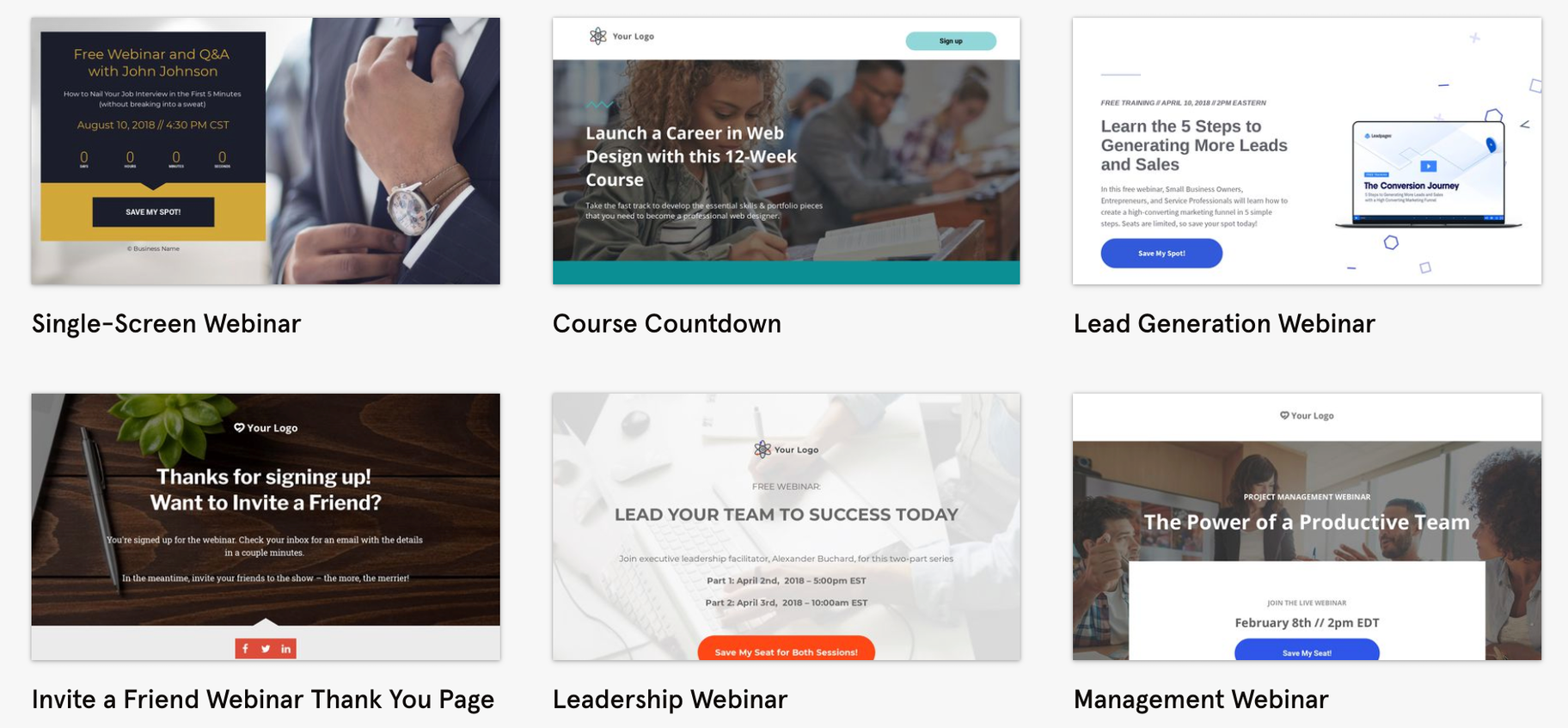 leadpages webinar registeration