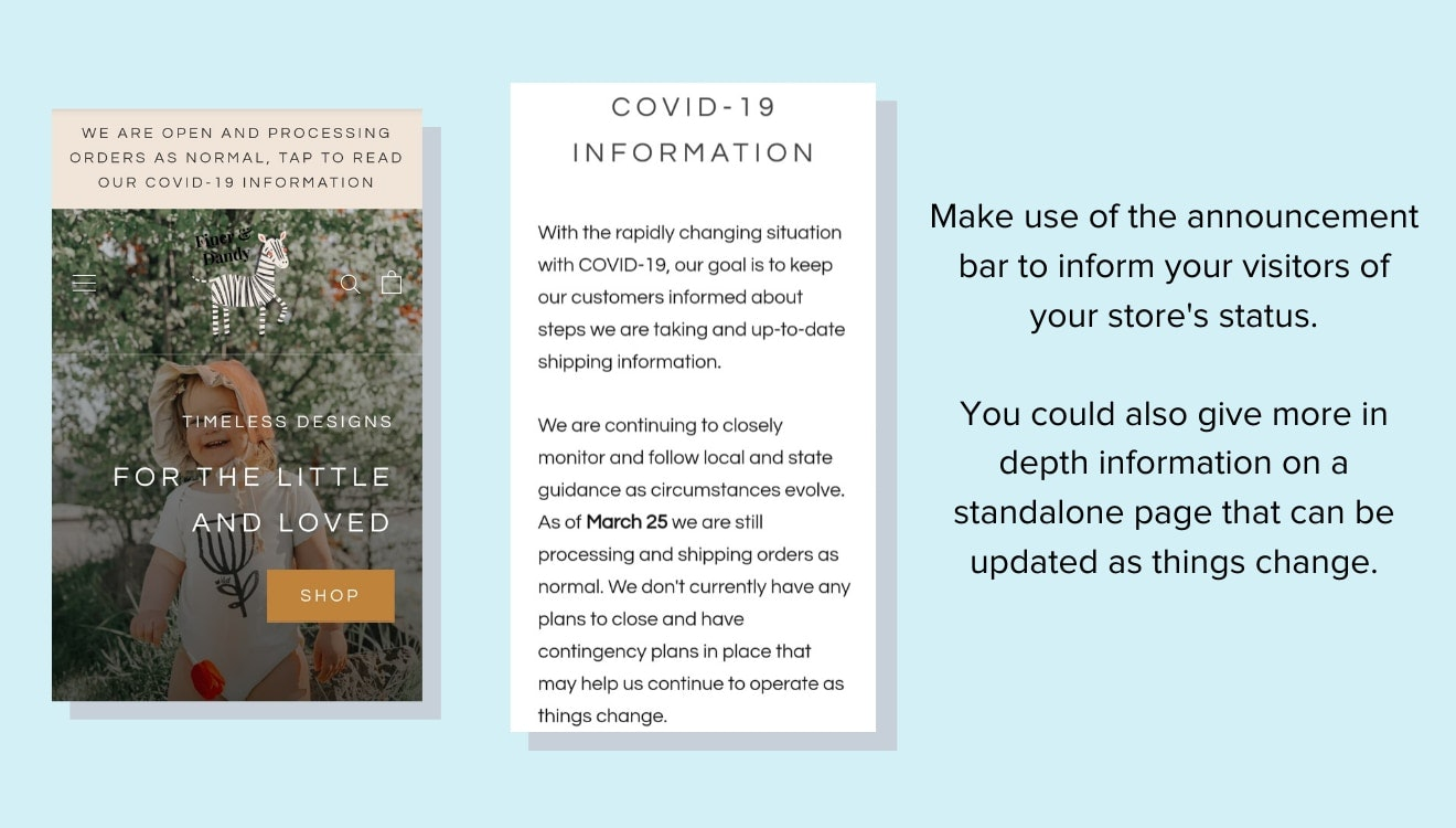 Finer and Dandy uses the announcement bar during coronavirus
