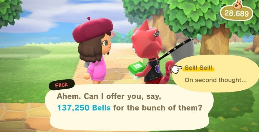 Selling to Flick in Animal Crossing