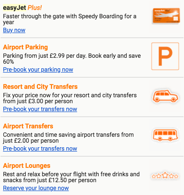 cross-selling sales promotion easyjet