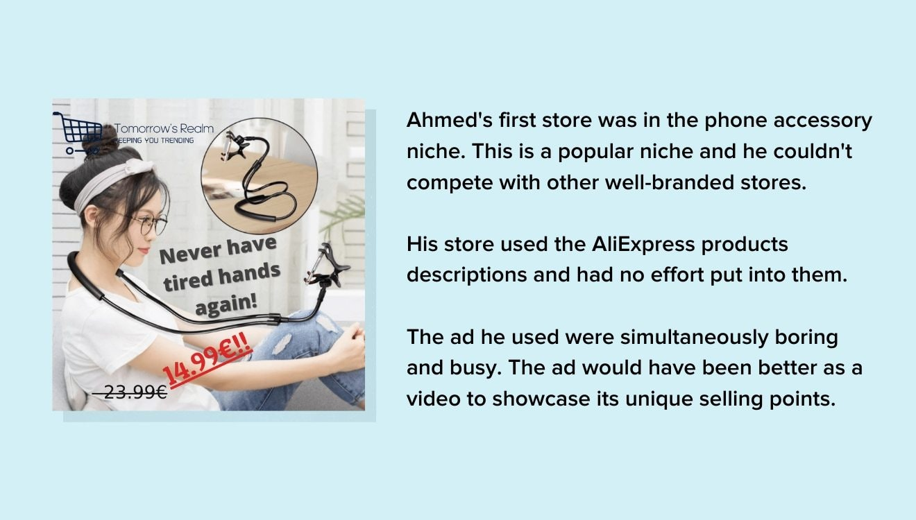 Ahmed's first store ad