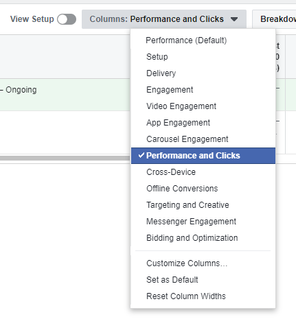 Facebook ad reports performances and clicks