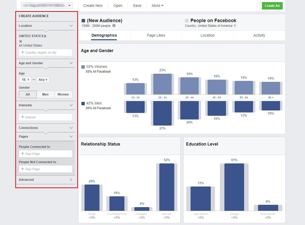Entering seed audience on Facebook audience insights