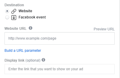 Adding a link to your Facebook ad