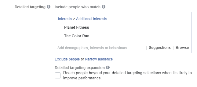 Detailed targeting for Facebook ads audiences