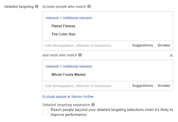 Detailed targeting expansion on Facebook ads