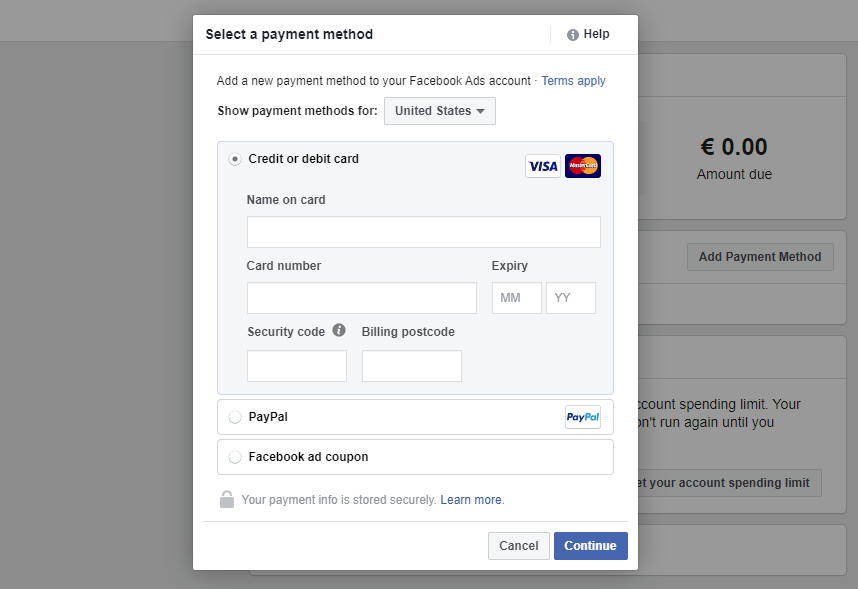 Selecting a Facebook ads payment method