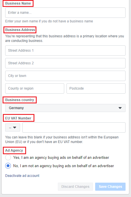 Choosing a business name Facebook ads manager