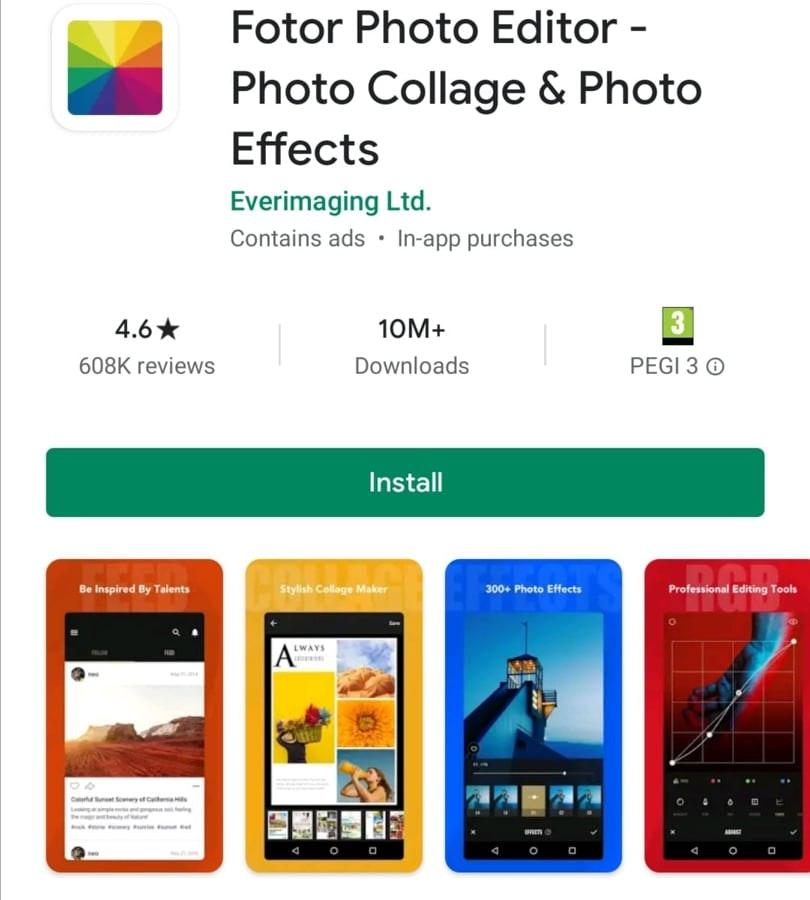 fotor photo editing app
