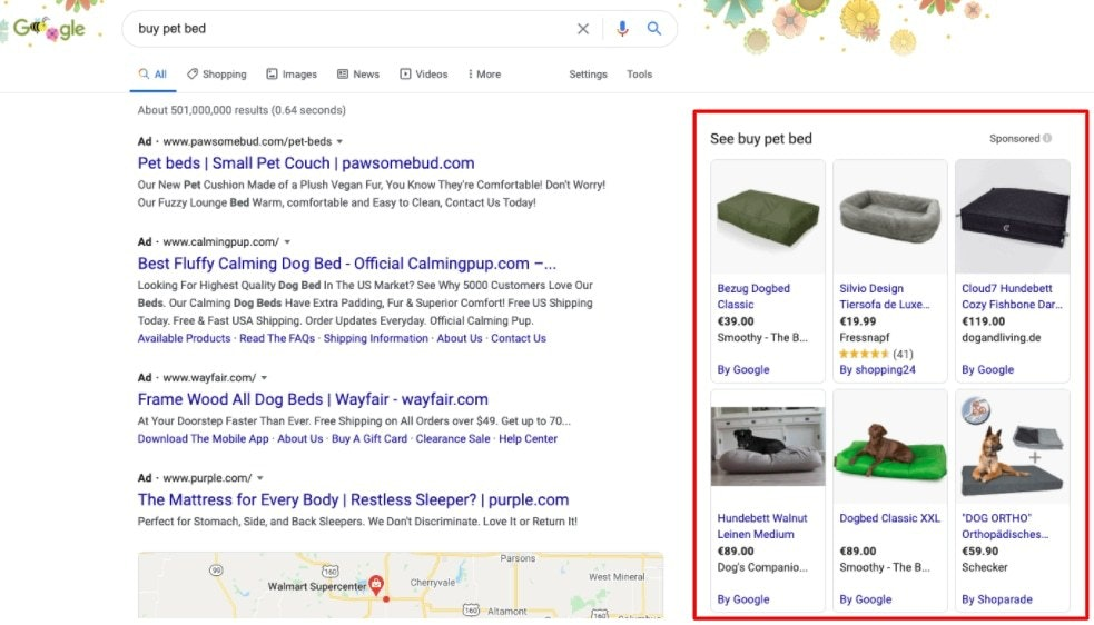 Screenshot of Product Listing Ads in Google