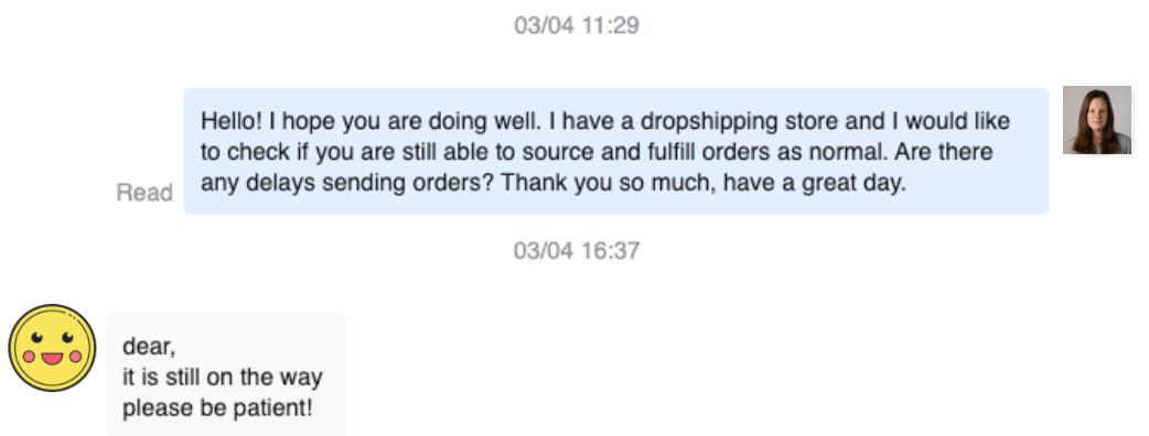 Supplier messages