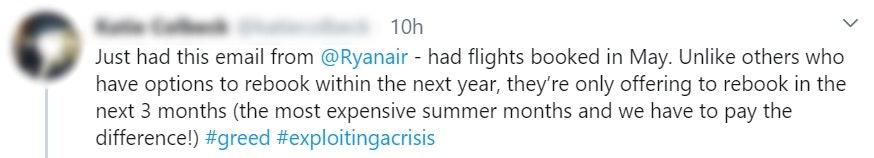 ryan air twitter complaint