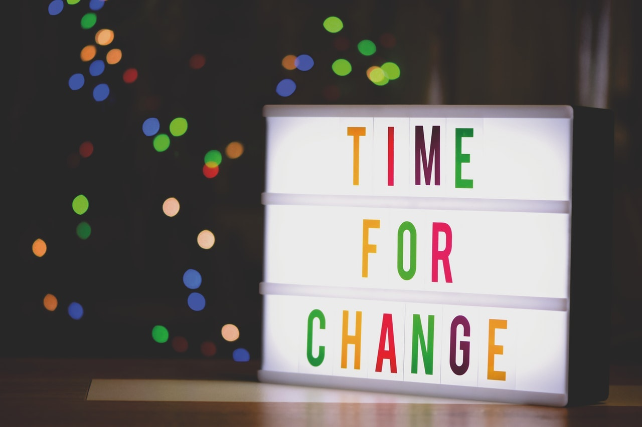 Light box with 'time for change' written on it