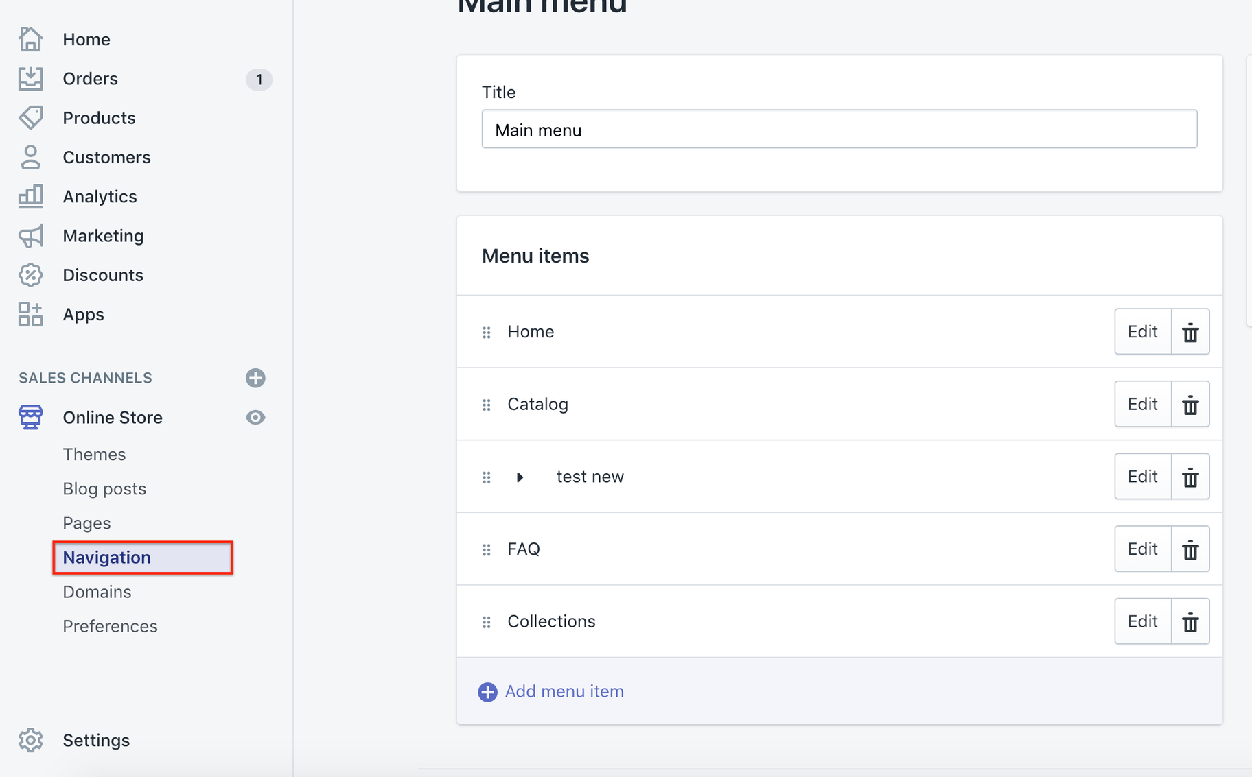 Shopify main menu