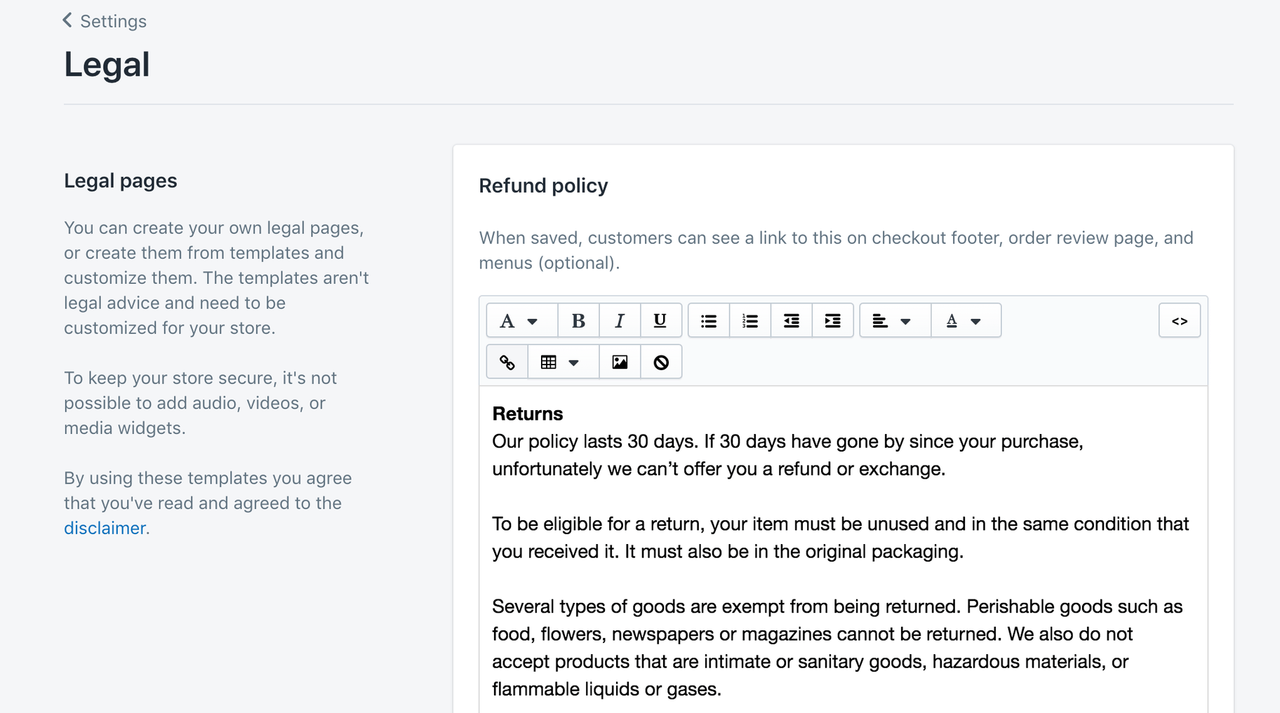 Shopify legal pages