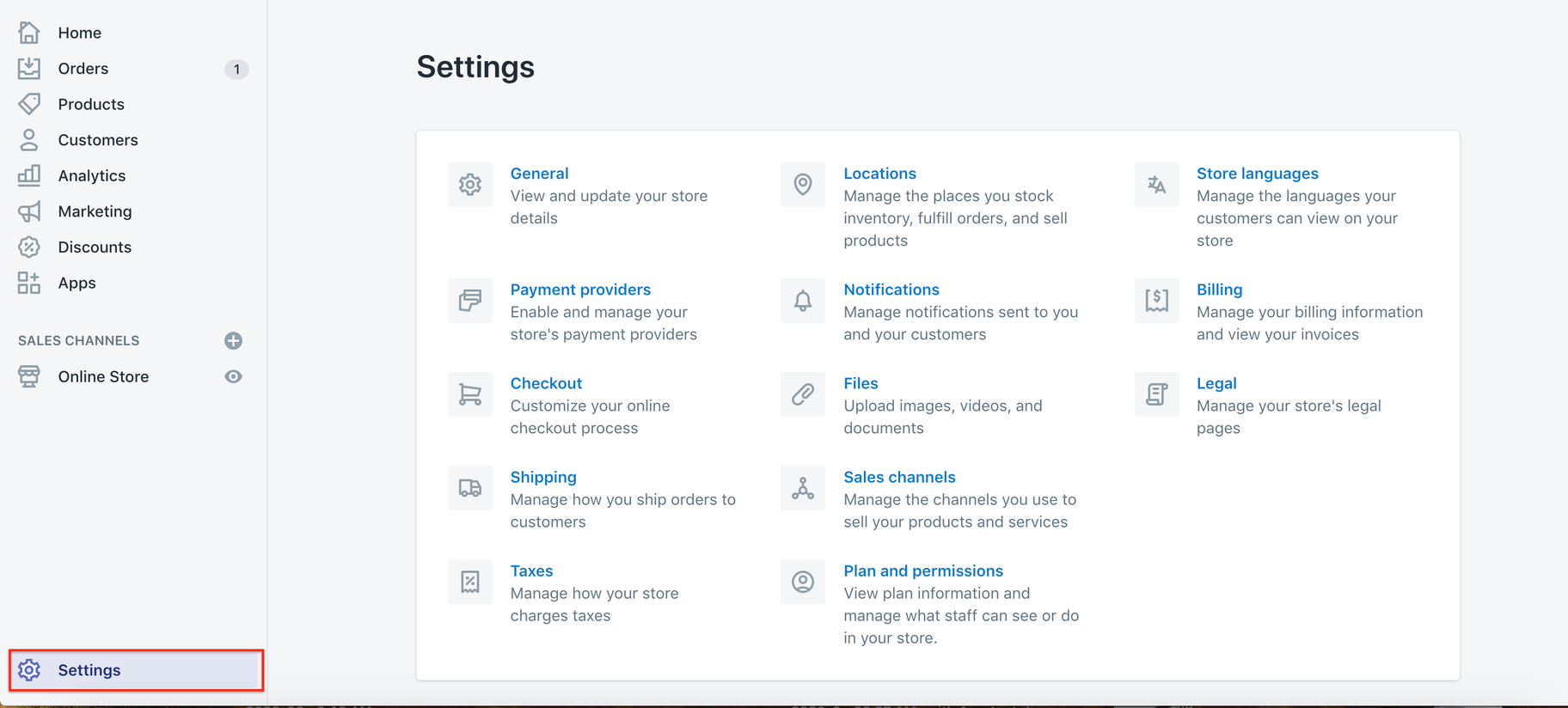 Shopify admin Settings