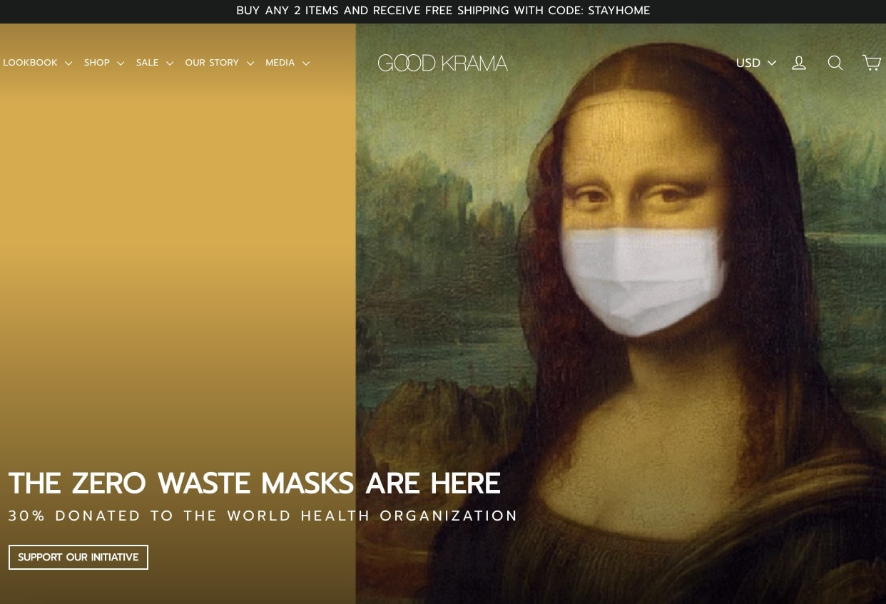 Screenshot of Good Krama's homepage with its zero waste mask offer