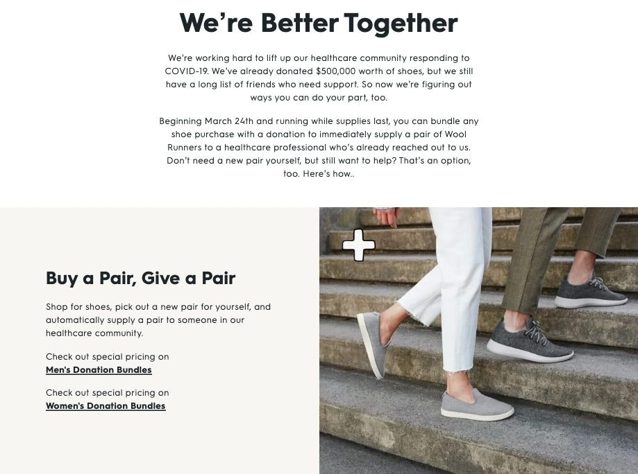 All Birds 'We're Better Together' product page