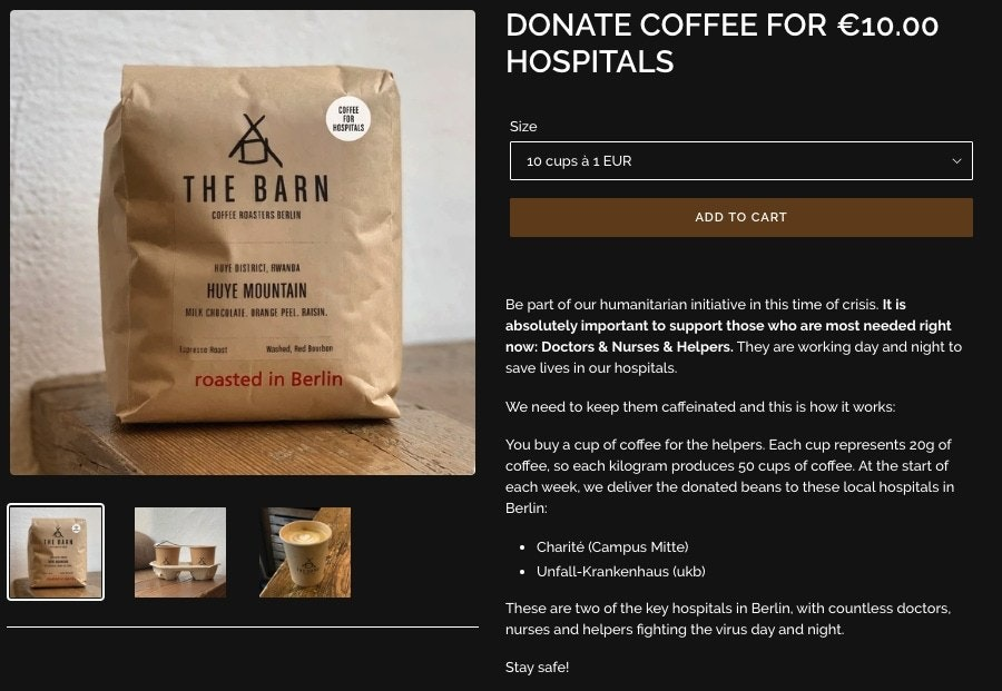 Screenshot of The Barn hospital donation page