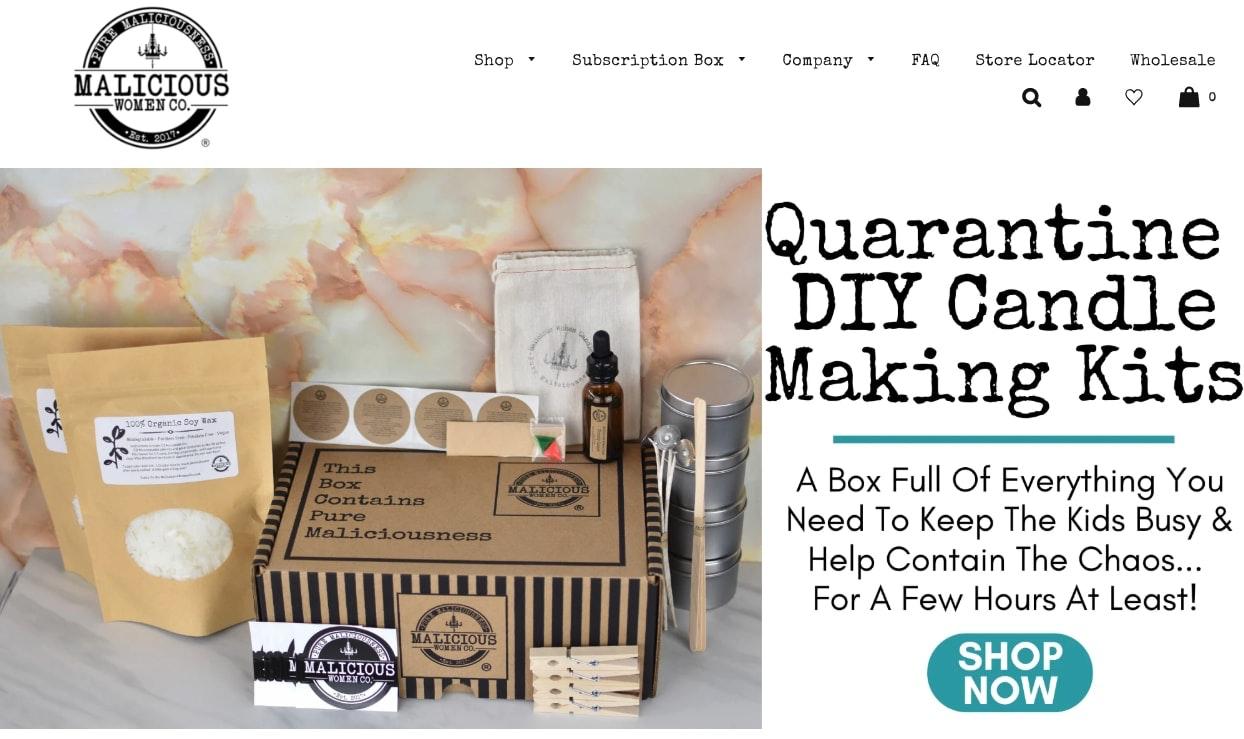 Screenshot of Malicious Women Co candle making kits