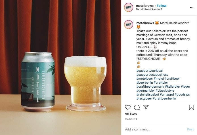 Motel Brews social media post