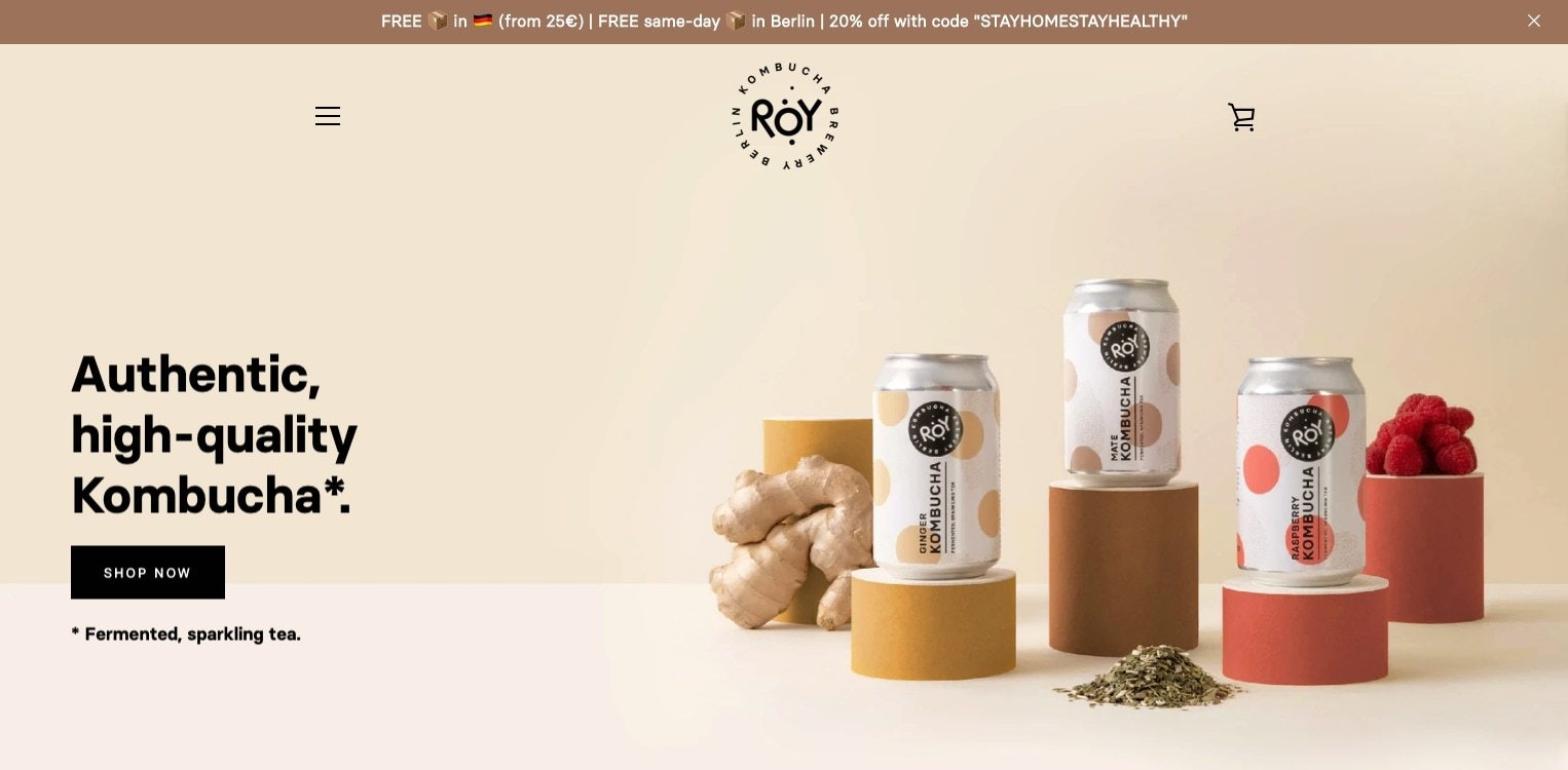 Screenshot from ROY kombucha homepage