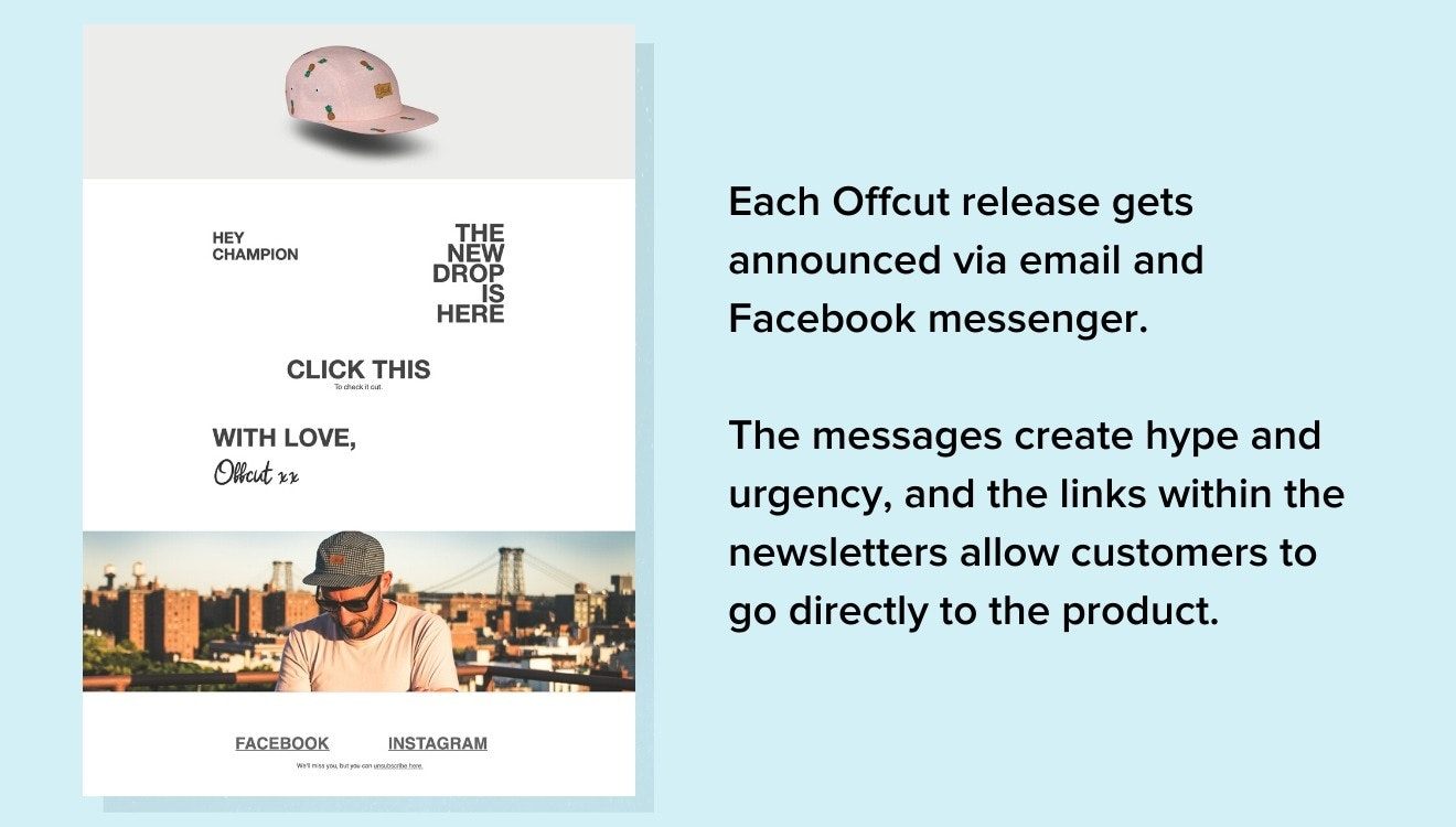 Offcut email example
