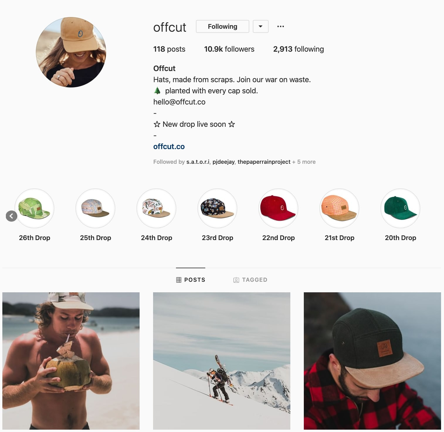 Screenshot of Offcut's instagram profile