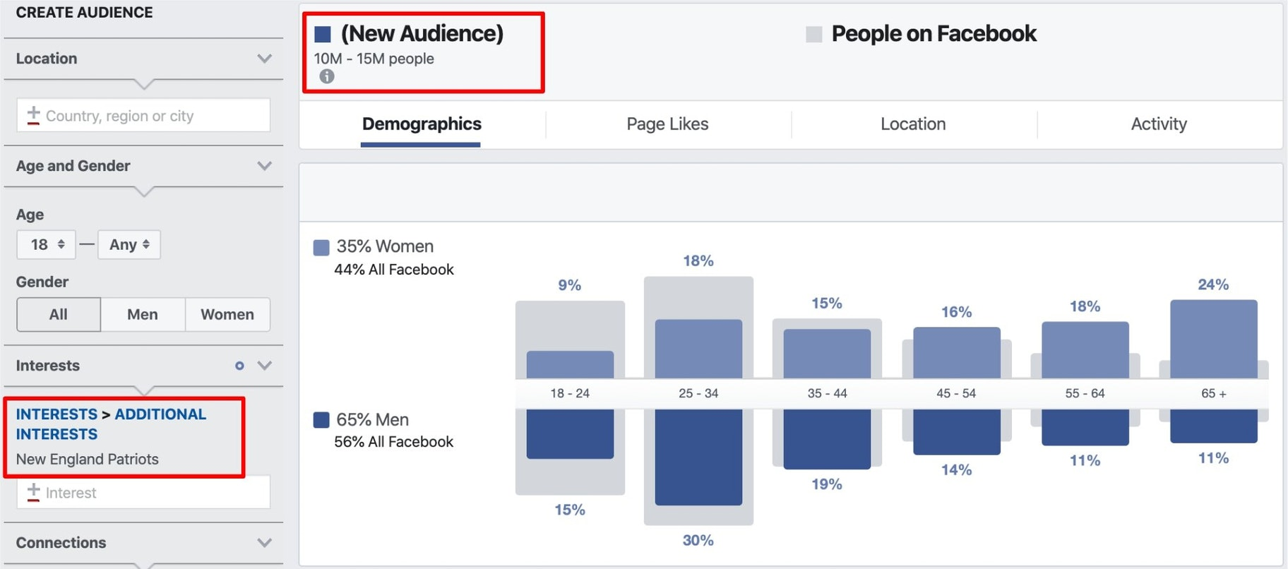 screenshot of FB audience insights for the Patriots