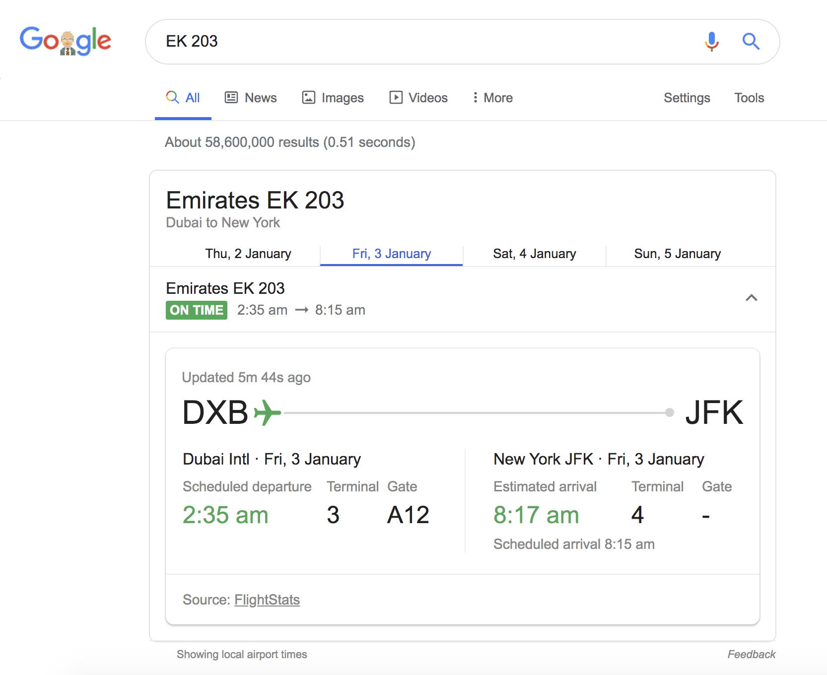 flight info advanced google search