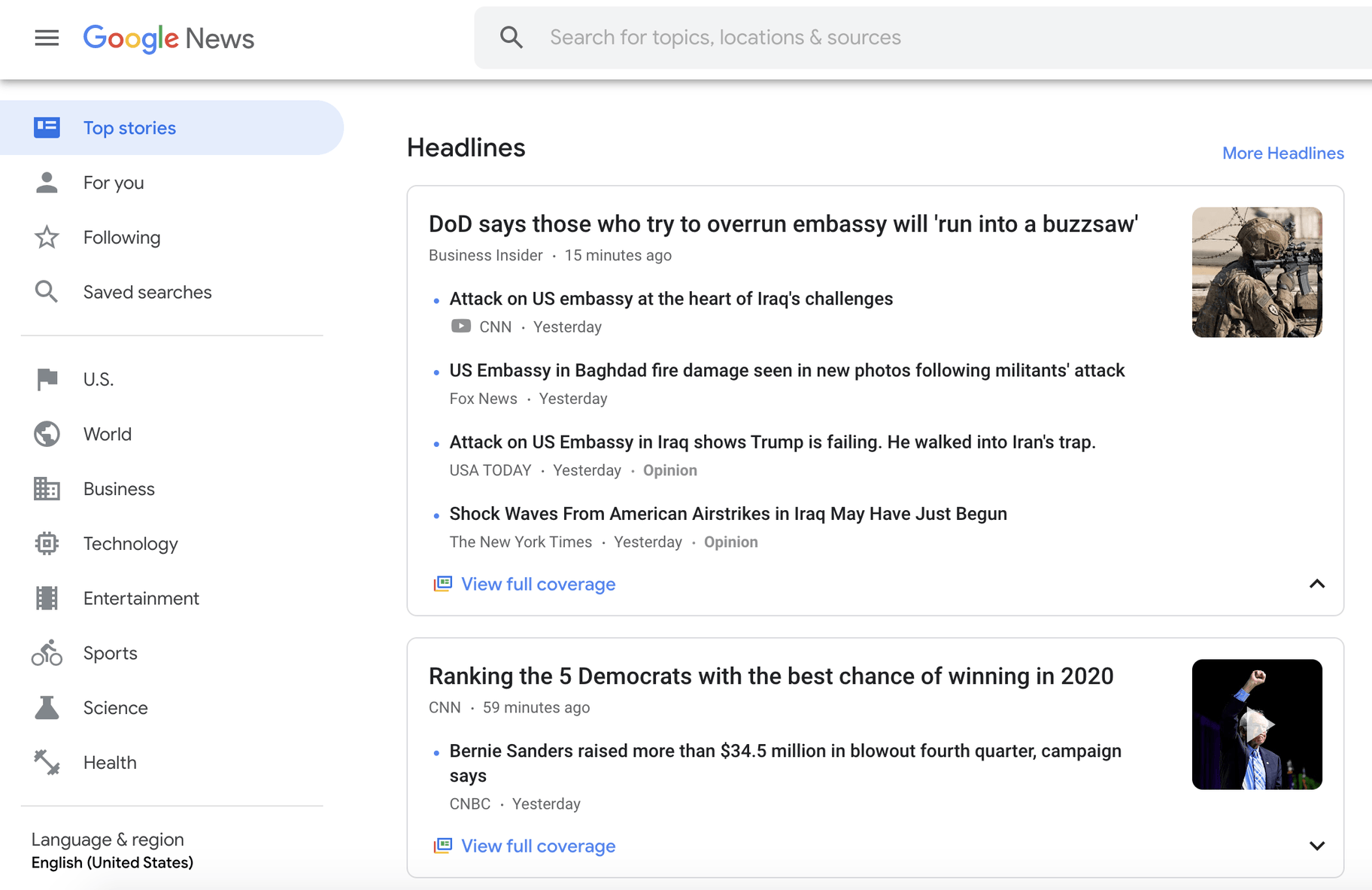 Google advanced search for news