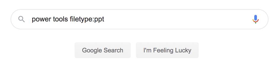Filetype search in Google