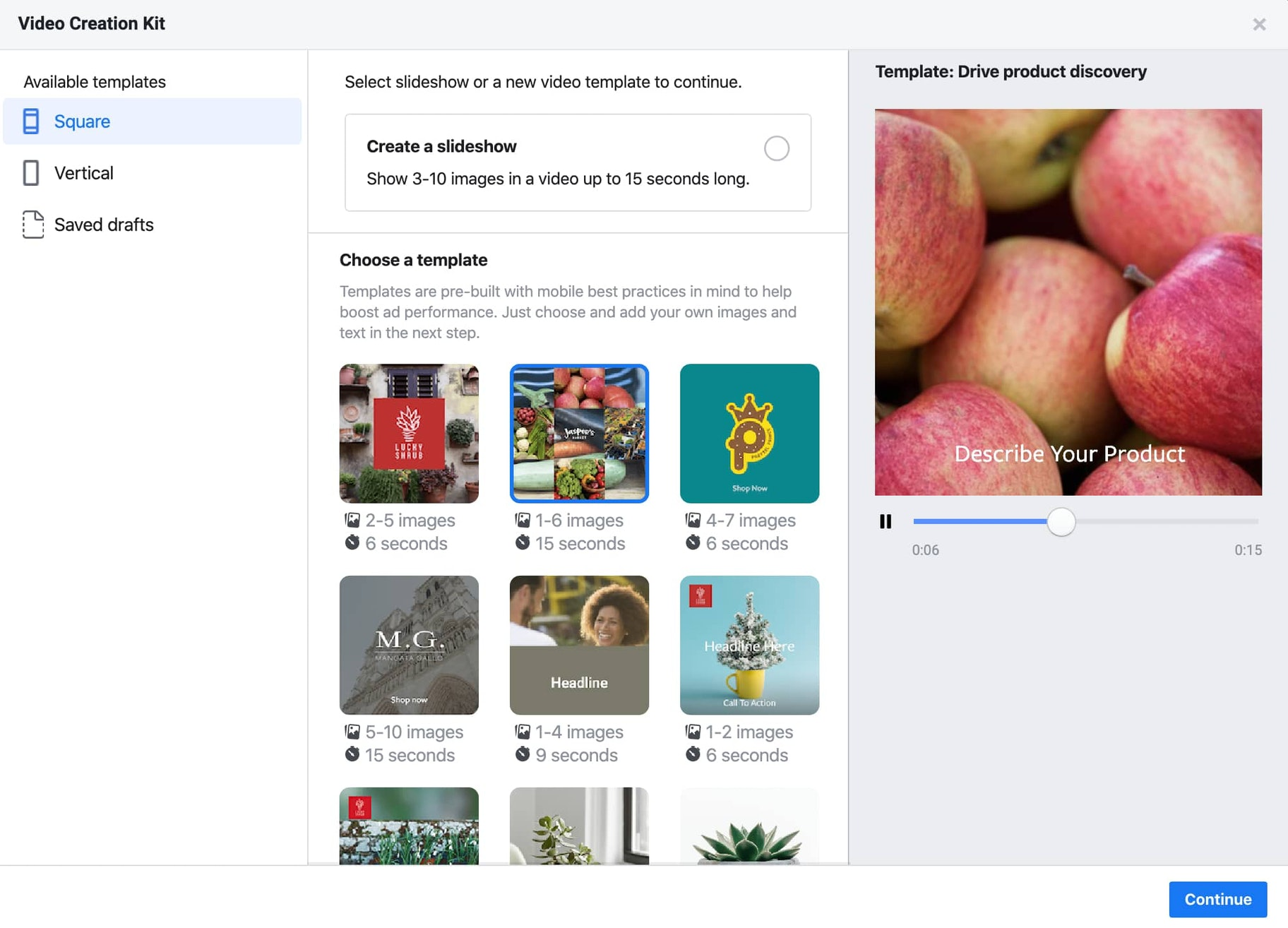Screenshot of Facebook's video and slideshow creation kit